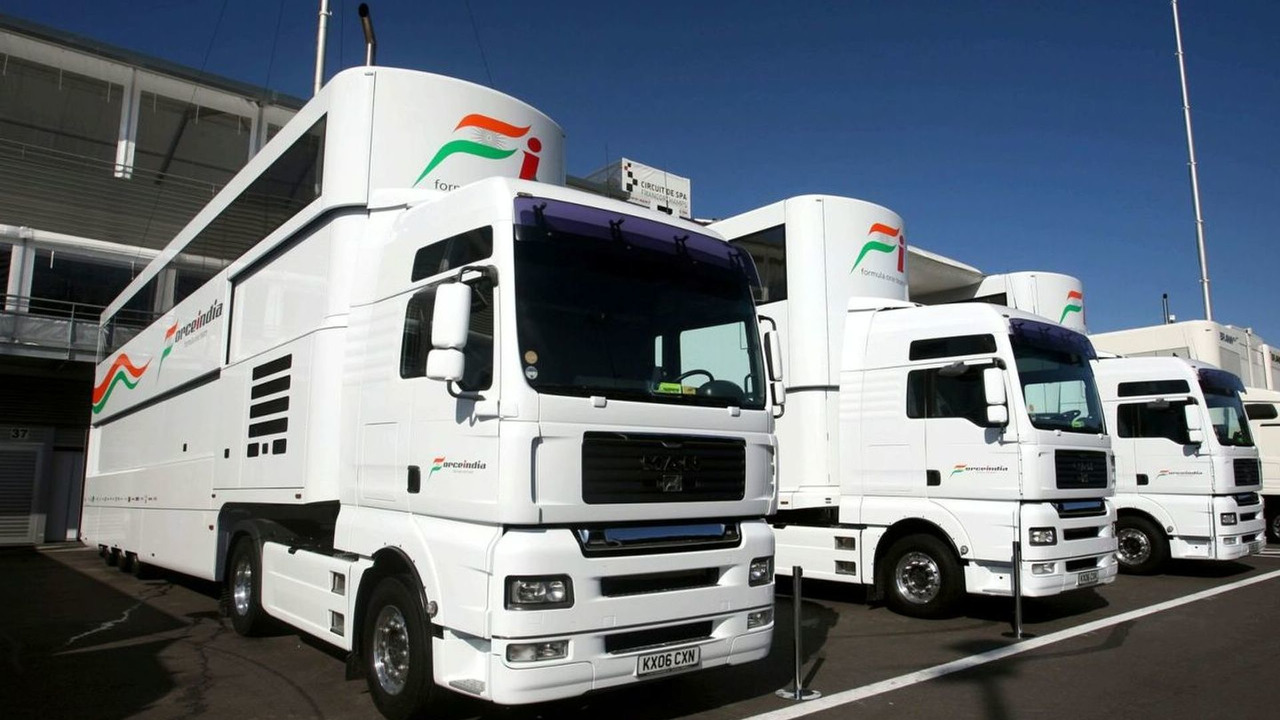 Force India F1 Team trucks in the paddock. Formula One World Championship, Rd 12, Belgian Grand Prix