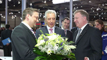 Hand over of the anniversary model of the BMW 1 Series by Stanislaw Tillich, Prime Minister oft he Free State of Saxony (in the middle) and Frank-Peter Arndt, Member oft he Board of BMW AG for Production (on the right) to Roland Riegler from Leipzig 12.04