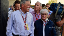 (L to R)- Chase Carey, Formula One Group Chairman with Bernie Ecclestone