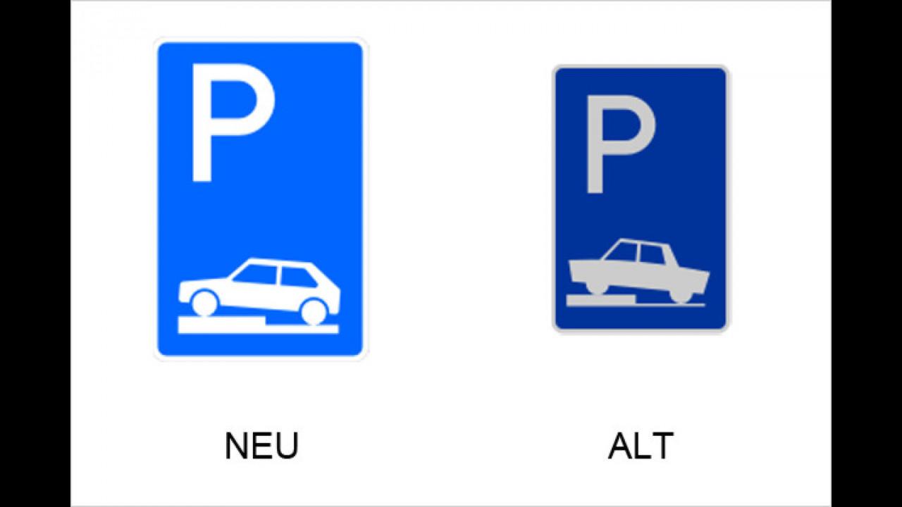 Parken halb auf Gehwegen quer zur Fahrtrichtung links