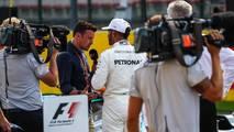 Polesitter Lewis Hamilton, Mercedes AMG F1 talks, Will Buxton, NBC TV Presenter