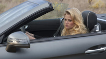 Lara Stone and Mercedes SL roadster on set 13.01.2012