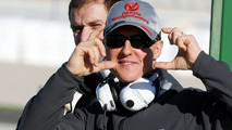 Michael Schumacher (GER), Mercedes GP pretends to take photos of the photographers, 01.02.2010 Valencia, Spain