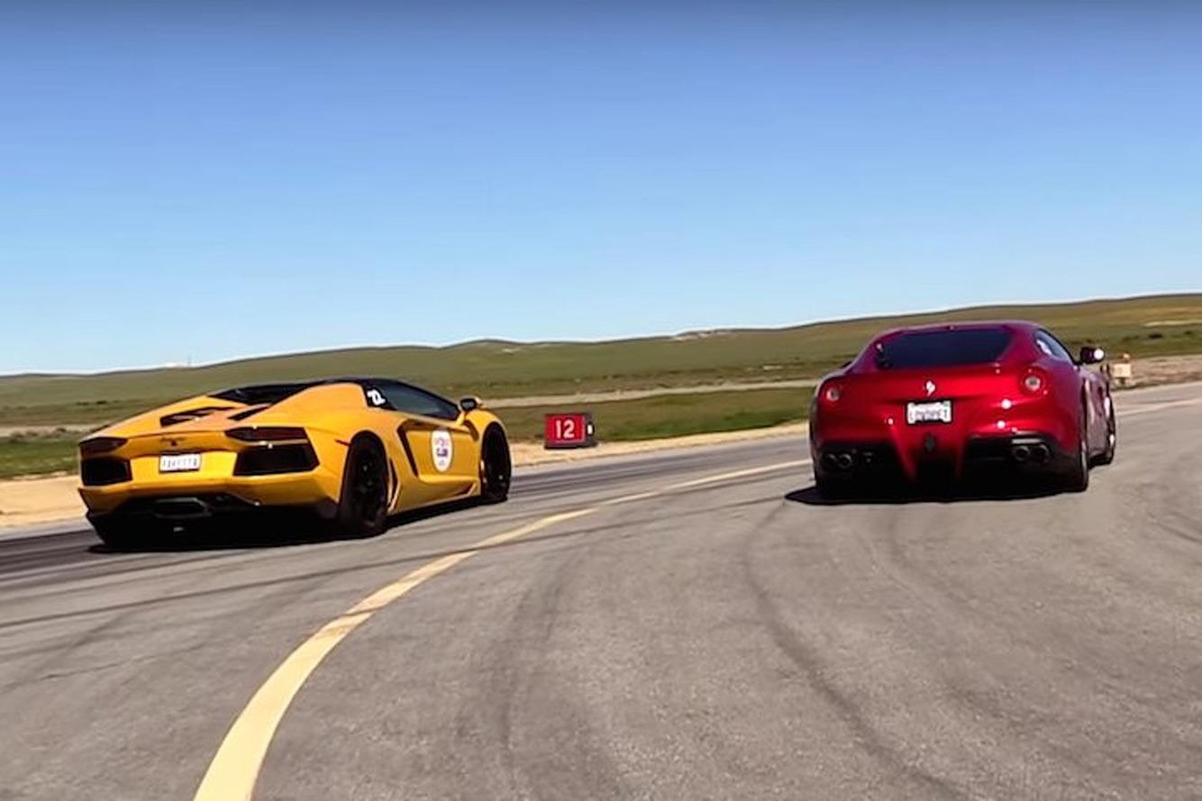 Watch a Ferrari F12 and Lamborghini Aventador Roadster Hit the Drag Strip