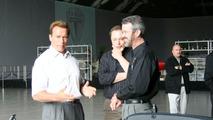 Tesla Roadster and Arnold Schwarzenegger