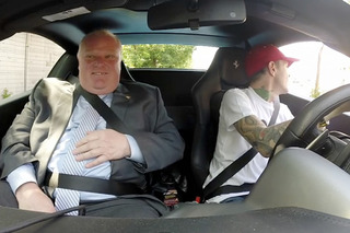 Rob Ford Joins Deadmau5 for Coffee in his Nyan Cat Ferrari [Video]