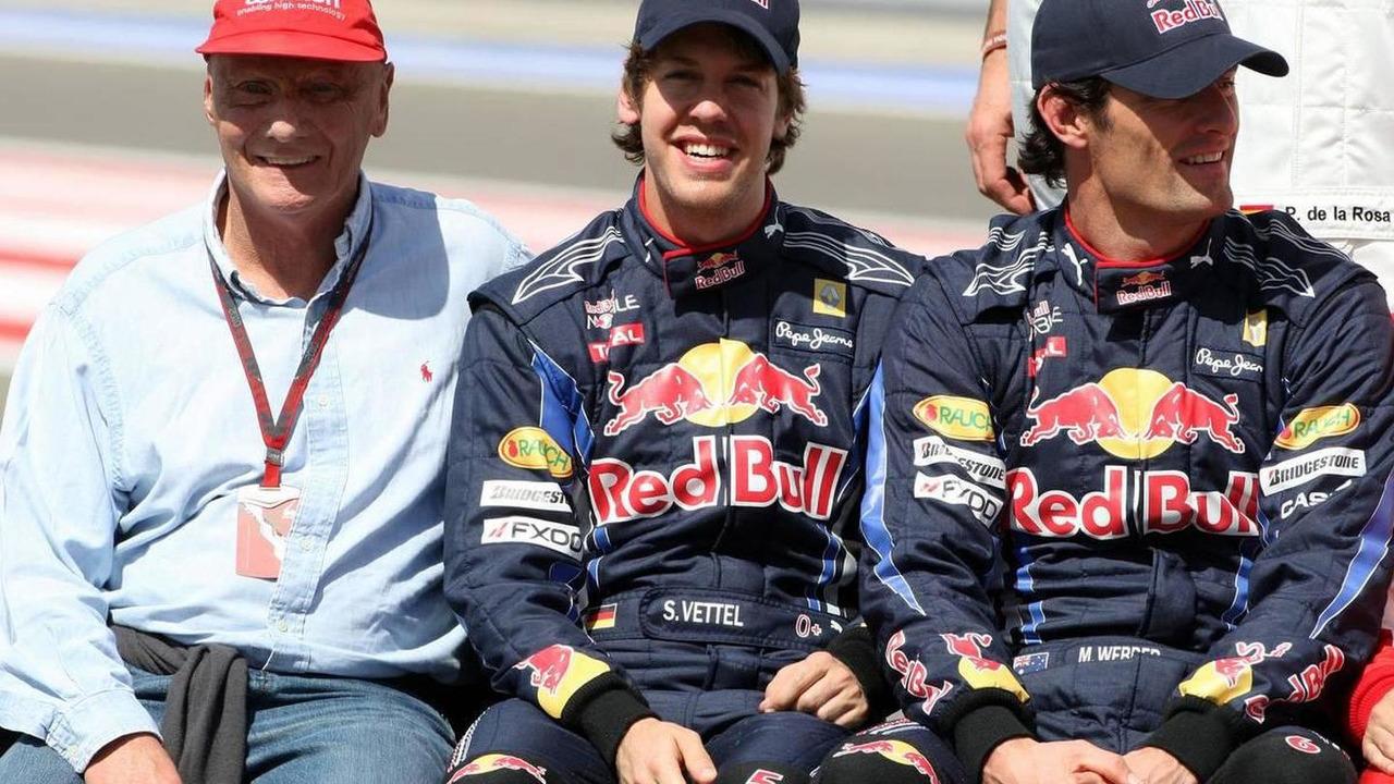 Niki Lauda (AUT), 1975, 1977 and 1984 F1 World Champion, Sebastian Vettel (GER), Mark Webber (AUS), Bahrain Grand Prix, 14.03.2010 Sakhir, Bahrain