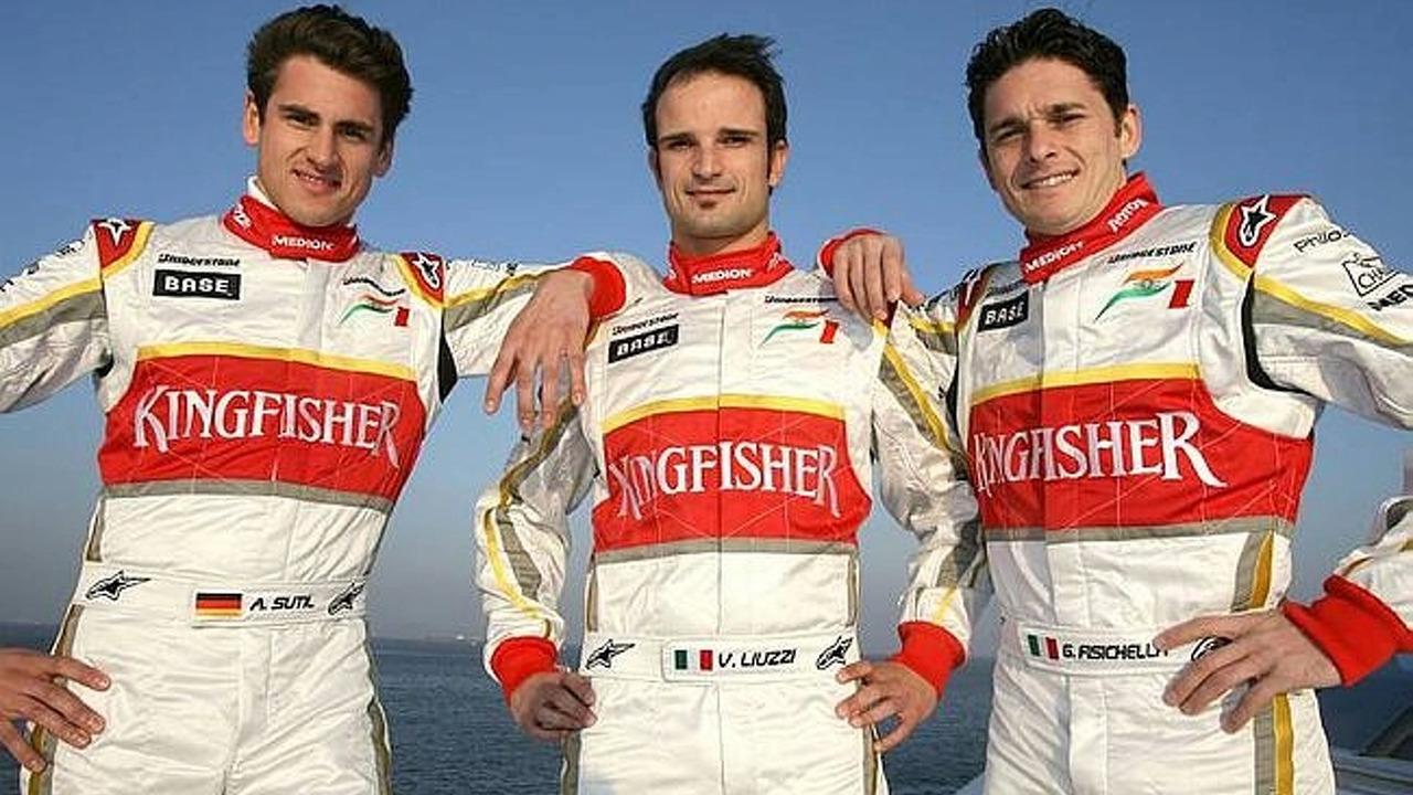 Adrian Sutil, Vitantonio Liuzzi ja Giancarlo Fisichella jatkavat Force Indian kuskeina.