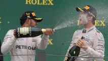 Podium- race winner Lewis Hamilton, Mercedes AMG F1, Nico Rosberg, Mercedes AMG F1