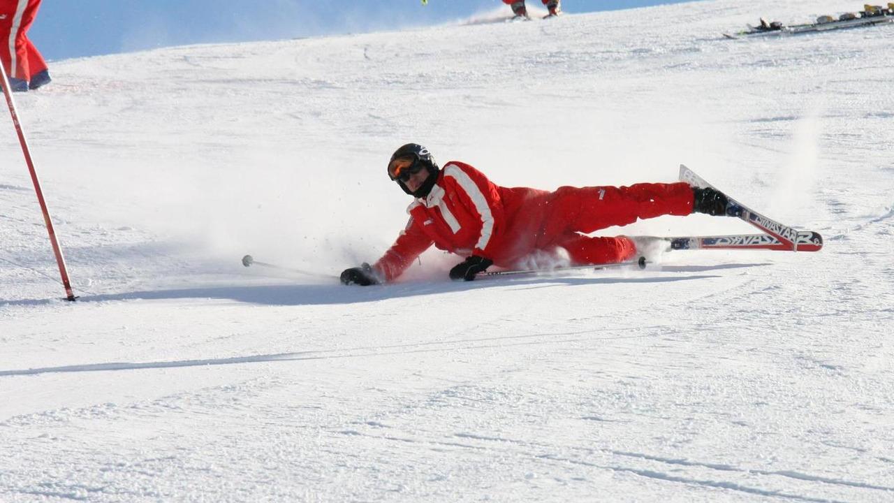 Michael Schumacher skiing at Wrooom annual Ski Press Meeting in Madonna di Campiglio Italy 13.01.2006