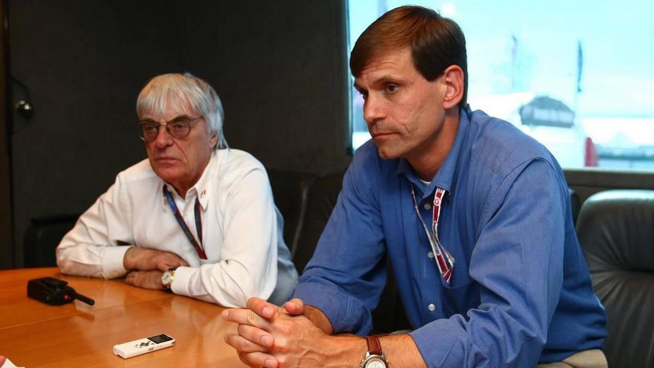 Bernie Ecclestone (GBR) and Tavo Hellmund, Texas Grand Prix promoter interview, British Grand Prix, 9.07.2010 Silverstone, England