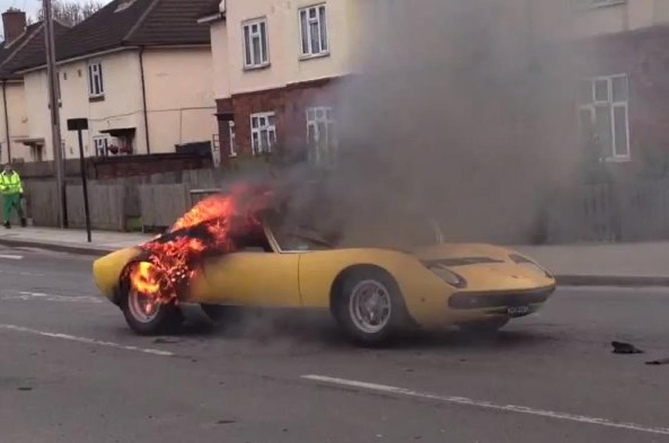Lamborghini Miura SV Burns to the Ground