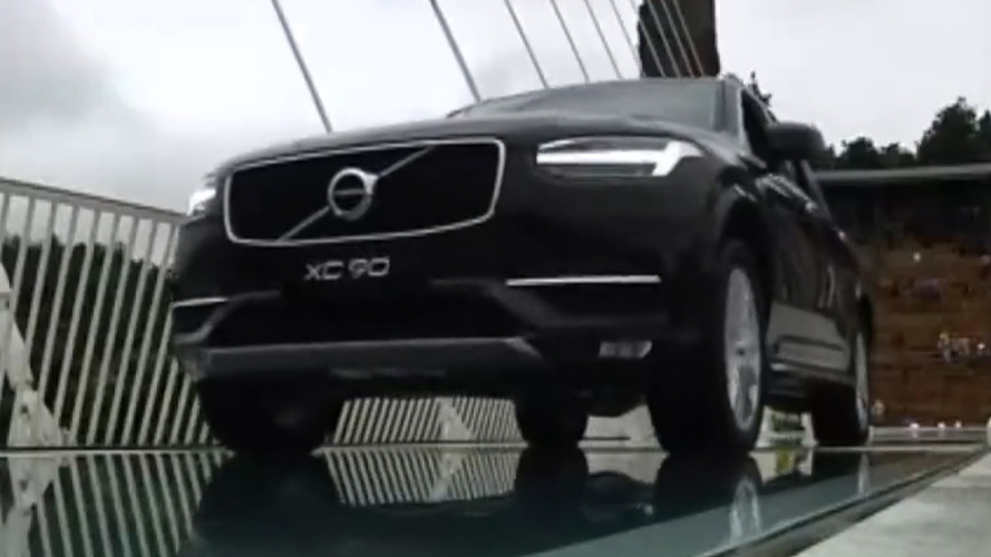 Chinese officials drive Volvo XC90 over glass bridge to prove its safety