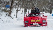 Ferrari F40 goes skiing