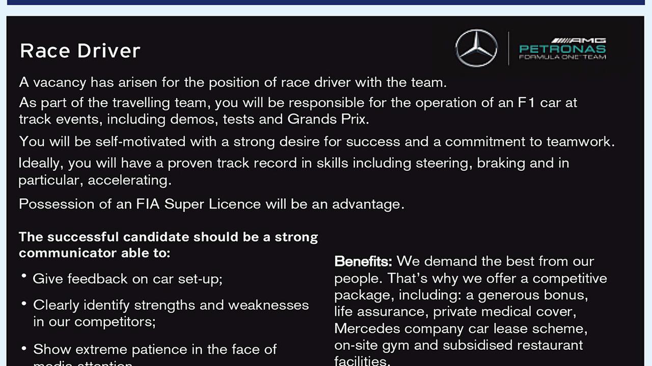 Anúncio Piloto Mercedes AMG F1