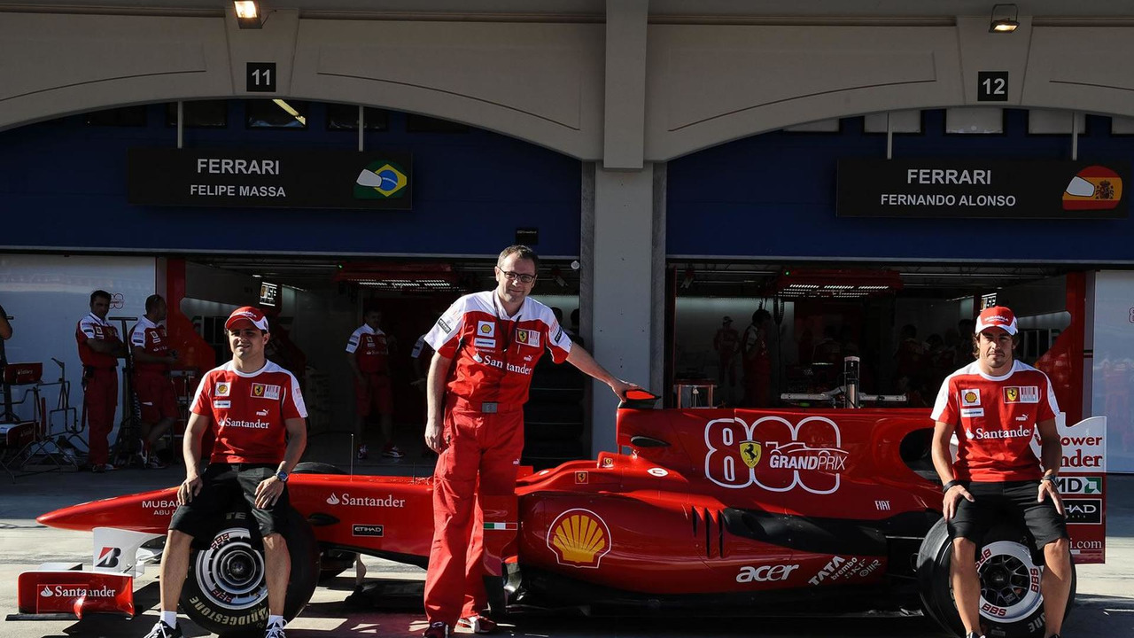 Felipe Massa, Stefano Domenicali, Fernando Alonso with Ferrari F10 F1 car
