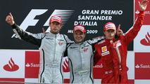 Rubens Barrichello (BRA), Brawn GP, Jenson Button (GBR), Brawn GP and Kimi Raikkonen (FIN), Räikkönen, Scuderia Ferrari - Formula 1 World Championship, Rd 13, Italian Grand Prix, Sunday Podium