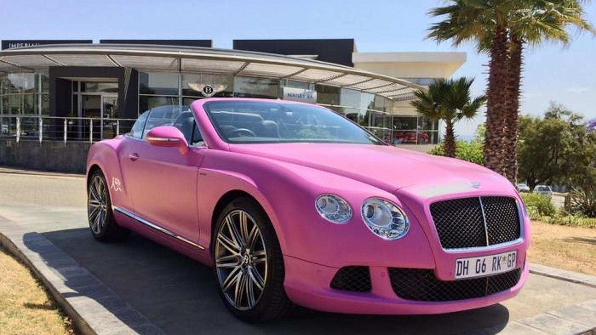 Гламурный розовый кабриолет Bentley Continental