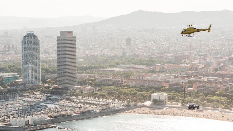SEAT Arona Takes A Helicopter Ride Over Barcelona Coast