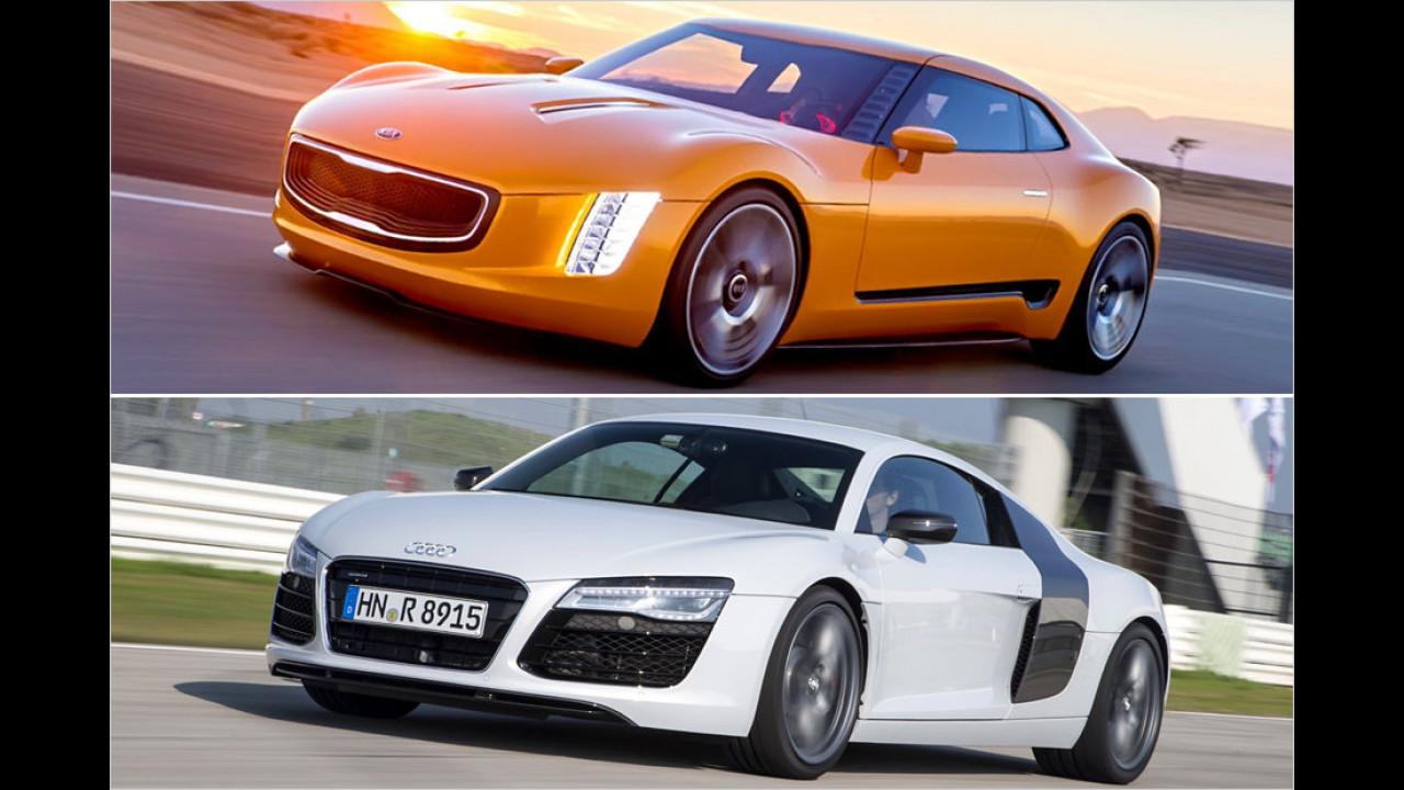 Kia GT4 Stinger und Audi R8