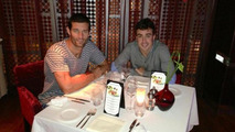 Mark Webber and Fernando Alonso with cheeky dinner photo 1024 17.04.2013
