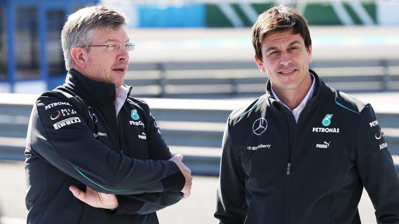 Ross Brawn with Toto Wolff 04.02.2013 Jerez Spain