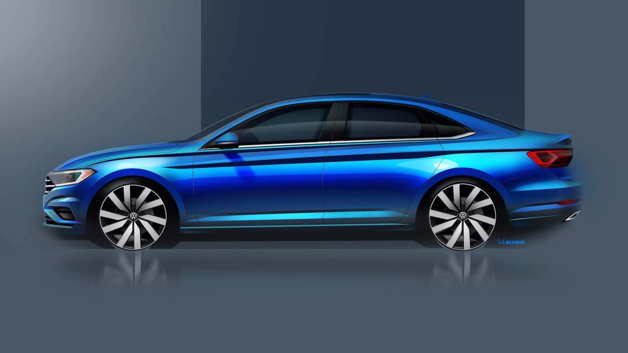 vw teases 2019 jetta in new sketches including interior. Black Bedroom Furniture Sets. Home Design Ideas