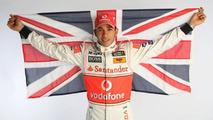 Lewis Hamilton with Union Jack