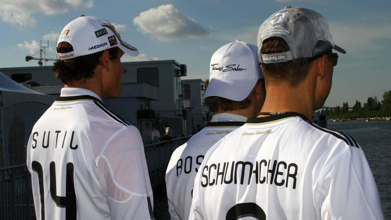 Adrian Sutil (GER), Force India F1 Team, Nico Rosberg (GER), Mercedes GP and Michael Schumacher (GER), Mercedes GP, Canadian Grand Prix, 11.06.2010 Montreal, Canada