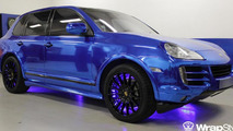 Porsche Cayenne with a blue chrome wrap by Tintek.cz 27.12.2011