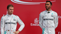 Nico Rosberg, Mercedes AMG F1 on the podium with team mate Lewis Hamilton, Mercedes AMG F1
