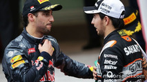 (L to R): Daniel Ricciardo, Red Bull Racing with Sergio Perez, Sahara Force India F1 at the podium
