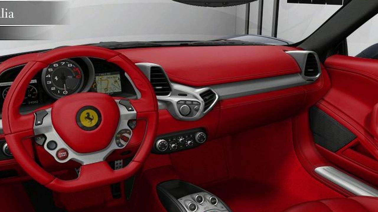 458 italia interior. ferrari 458 italia configurator interior