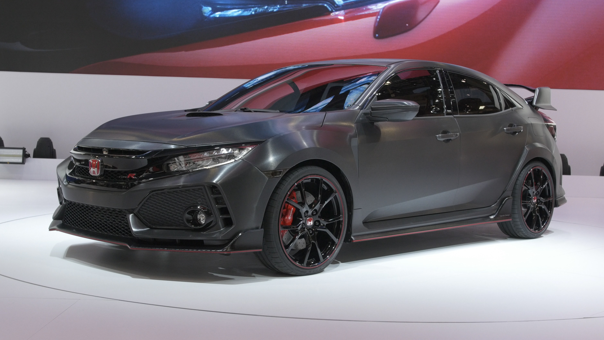 video honda civic type r prototype at the paris motor show. Black Bedroom Furniture Sets. Home Design Ideas