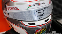 The helmet of Daniel Juncadella, Sahara Force India F1 Team Test and Reserve Driver with rain visor