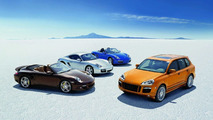 Model range showing the 911 Turbo Cabriolet, the Cayman S, the Boxster and the Cayenne GTS (2008)
