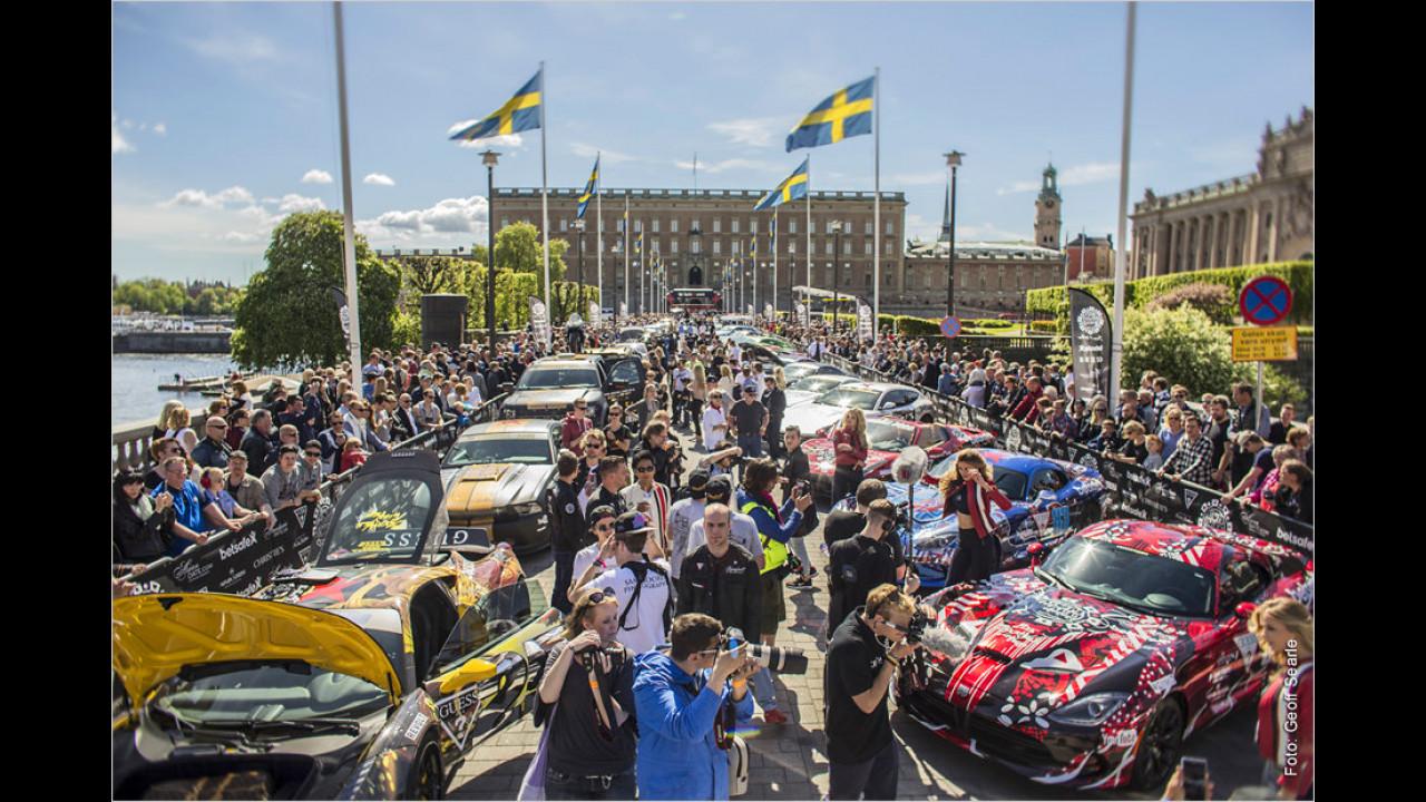Startaufstellung und Registrierung in Stockholm