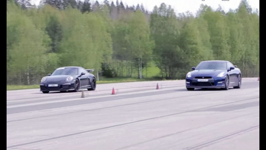 Porsche 911 GT3 e Nissan GT-R na arrancada. Quem anda na frente? - vídeo