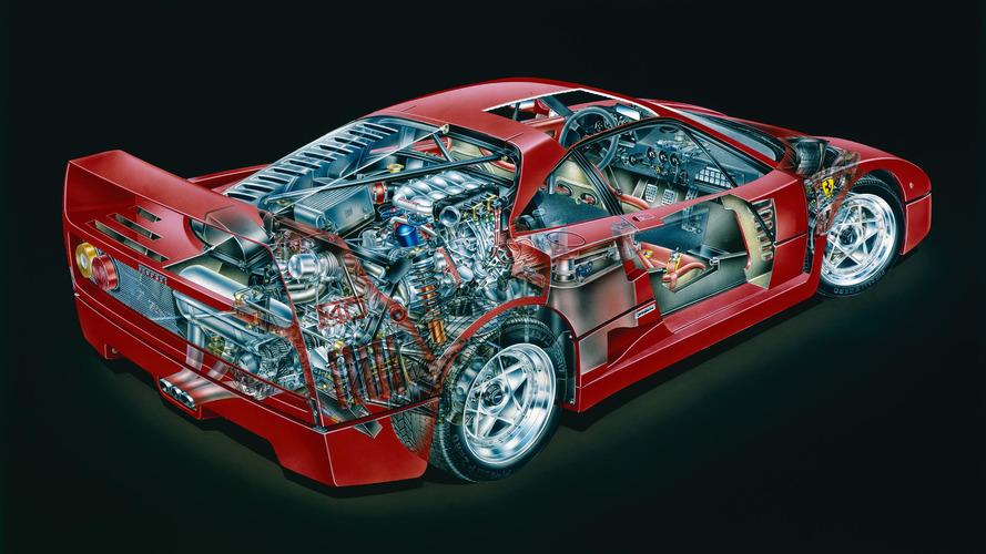Imagem mostra Ferrari F40 em detalhes