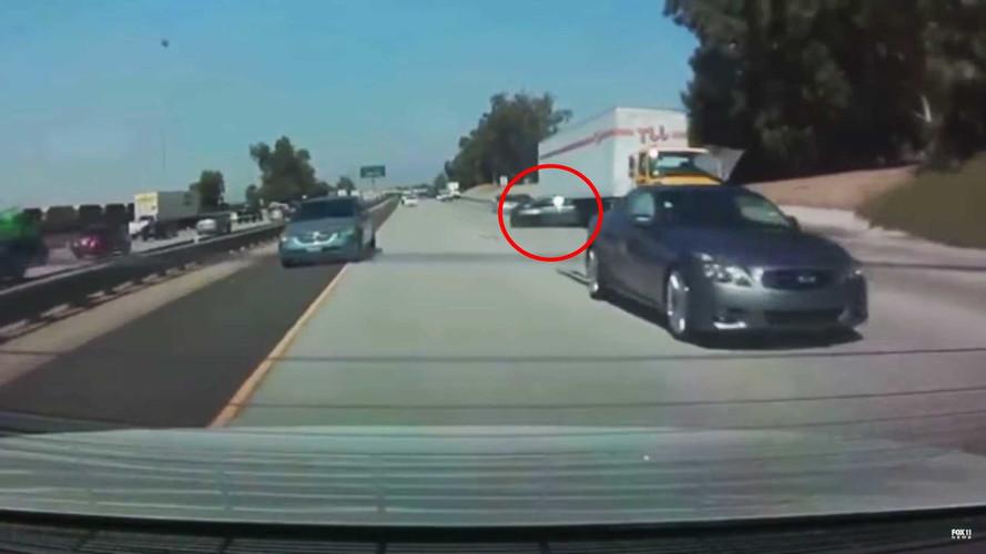 Idiot Infiniti Driver Hits BMW, Spins It Underneath A Semi Truck