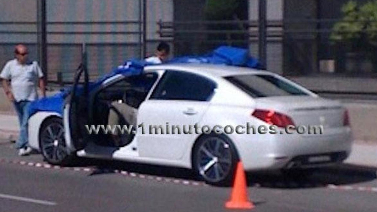 Peugeot 508 spy photo during photo shoot, Madrid, Spain