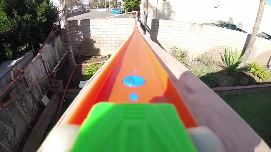Ride On A Hot Wheels Car Through A Two-Story, Yard-Filling Track