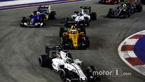 Felipe Massa, Williams FW38 Mercedes, leads Kevin Magnussen, Renault Sport F1 Team RS16 Valtteri Bottas, Williams FW38 Mercedes and Marcus Ericsson, Sauber C35 Ferrari