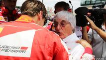 Sebastian Vettel, Ferrari with Bernie Ecclestone, on the grid