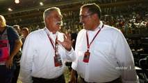 (L to R)- Chase Carey, Formula One Group Chairman with Sheikh Mohammed bin Essa Al Khalifa, CEO of the Bahrain Economic Development Board and McLaren Shareholder on the grid