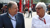 (L to R) - Jean Todt, FIA President with Bernie Ecclestone,