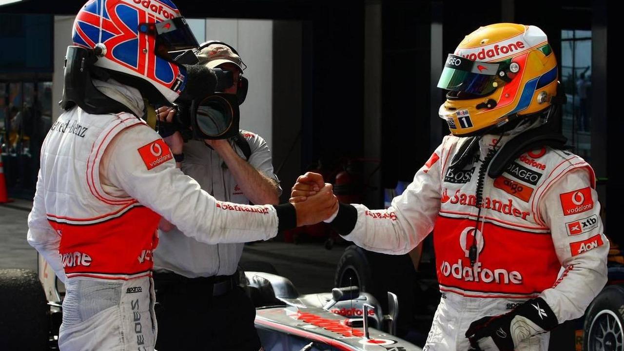 Lewis Hamilton & Jenson Button celebrate a McLaren 1-2 at the 2010 Turkish Grand Prix