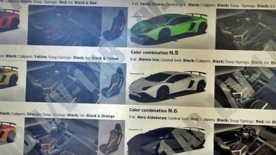 Lamborghini Aventador SuperVeloce brochure leak shows available colors