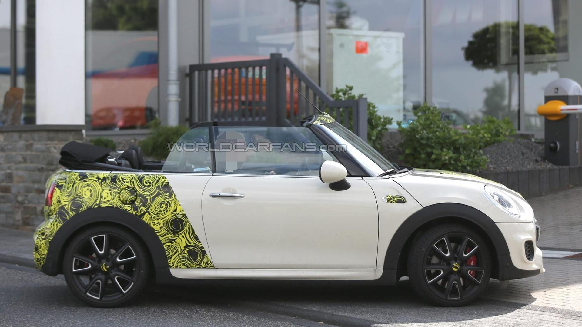 2016 mini cooper s cabrio spied with the top down 23 photos. Black Bedroom Furniture Sets. Home Design Ideas