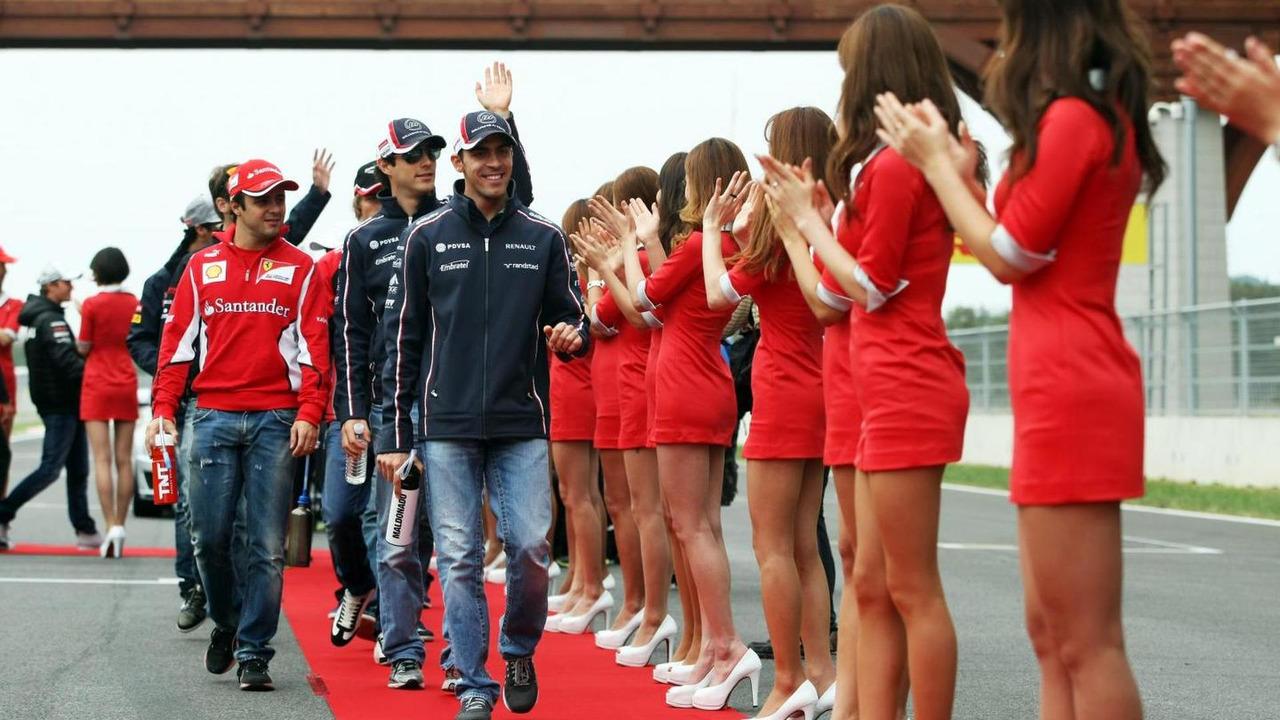 Pastor Maldonado and Felipe Massa on the drivers parade 14.10.2012 Korean Grand Prix
